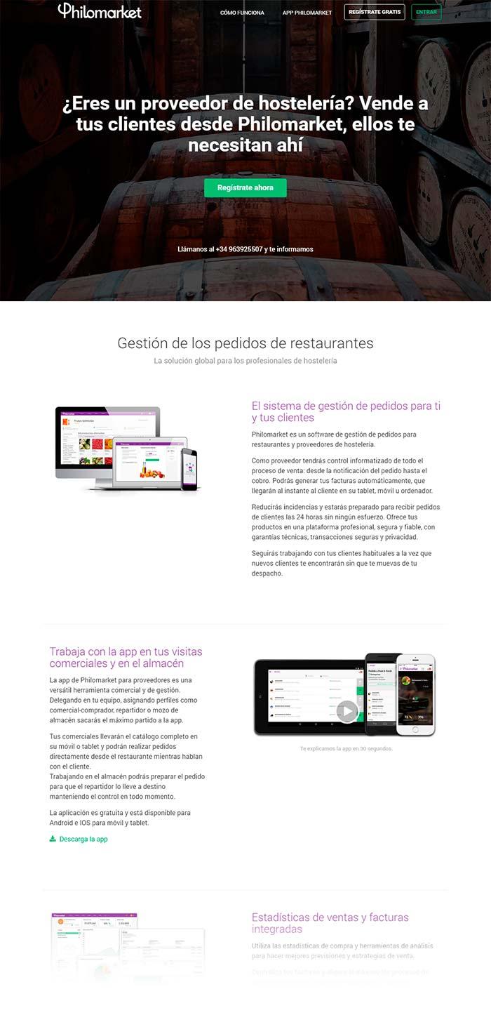 sitio web producto