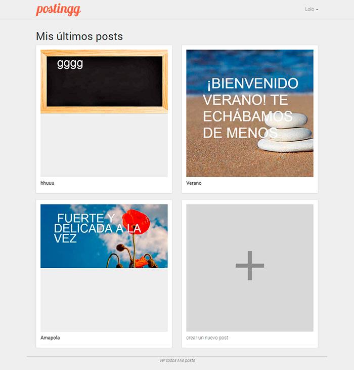 Postingg, aplicación web PHP